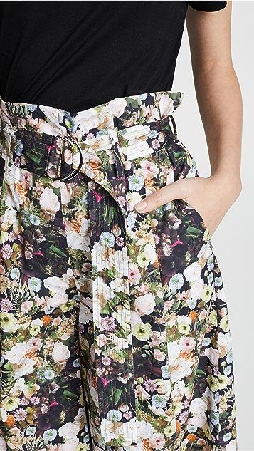 Adam Lippes Printed Poplin Tie Waist Culottes