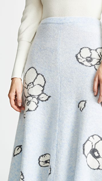 Adam Lippes Floral Intarsia Cashmere Circle Skirt