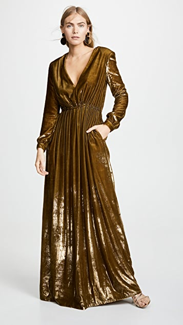 Adam Lippes Liquid Velvet V Neck Gown
