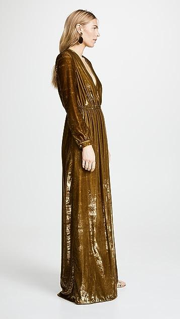 Adam Lippes Бархатное вечернее платье Liquid с V-образным вырезом