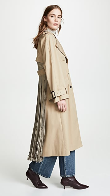 Fringe Back Trench Coat by Adam Lippes