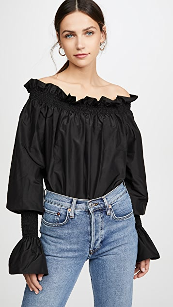 Taffeta Off Shoulder Top by Adam Lippes