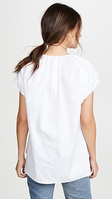 Adam Lippes Poplin Shirred Neck Top
