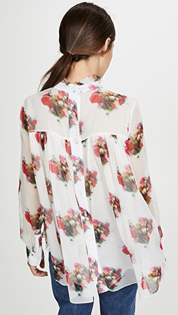 Adam Lippes Floral Tie Neck Top