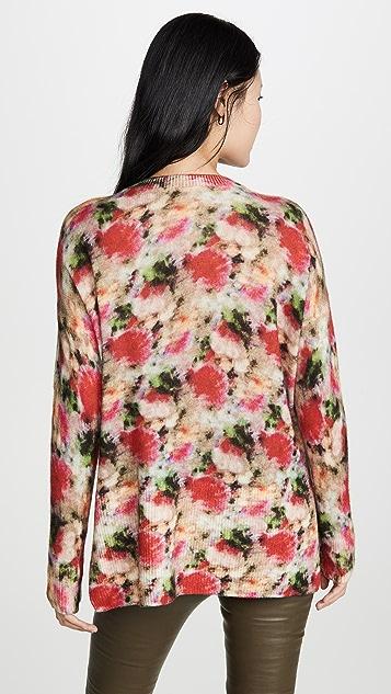 Adam Lippes Floral Crew Neck Cashmere Sweater
