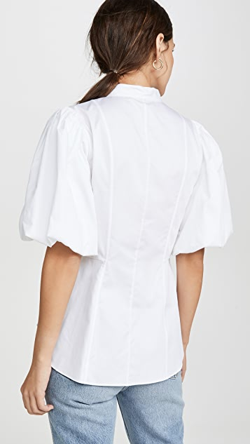 Adam Lippes Fitted Blouse With Puff Sleeve