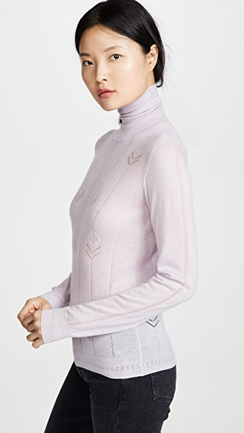 Adam Lippes Cashmere Turtleneck with Flowers