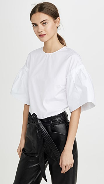 Adam Lippes Tops Flutter Sleeve Top