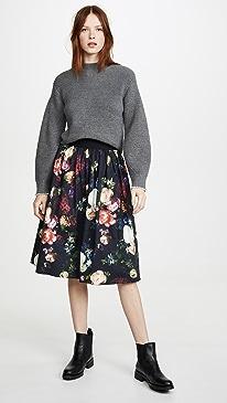 Midi Skirt with Sunburst Pleats