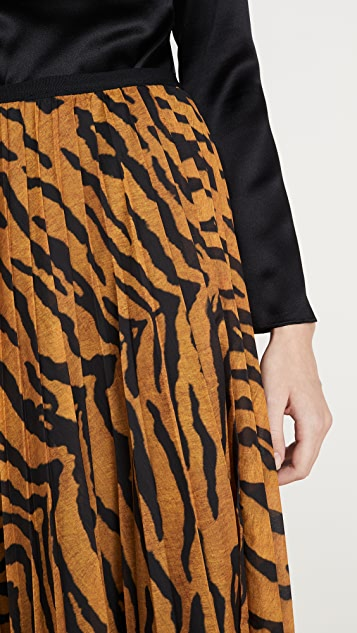 Adam Lippes 印花巴厘纱裥褶中长半身裙