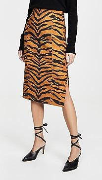 Pencil Skirt In Printed Stretch Viscose