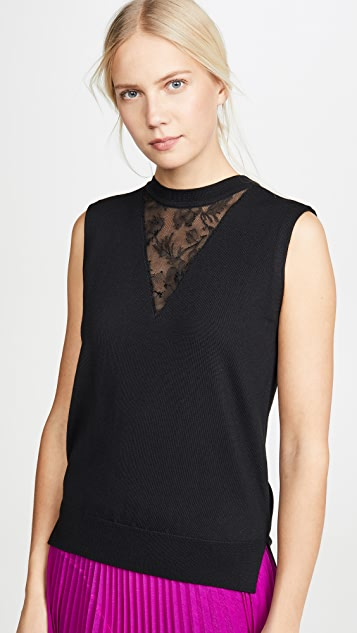 Adam Lippes Tops Merino Wool Shell with Lace Trim