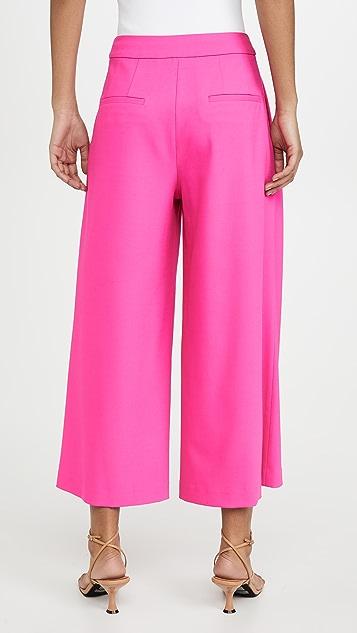 Adam Lippes Юбка-брюки со складками спереди из эластичной шерсти