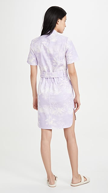 Adam Lippes Belted Shirt Dress In Printed Twill