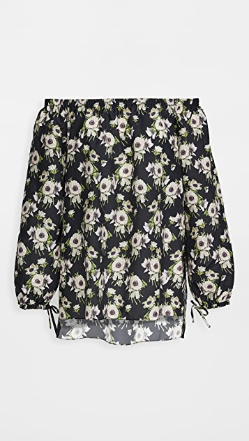 Adam Lippes Long Sleeve Off Shoulder Top In Printed Voile