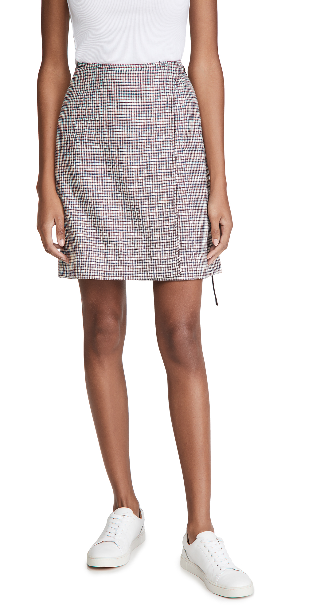 Adam Lippes Miniskirt W/ Buckle In Silk Linen Plaid