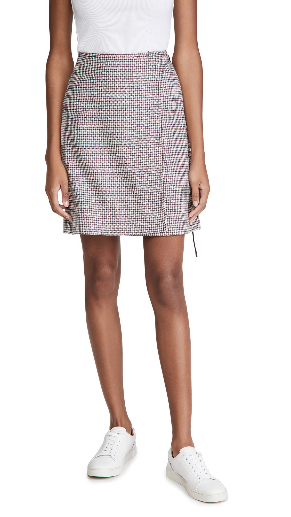 Adam Lippes Miniskirt W/ Buckle In Silk Linen Plaid