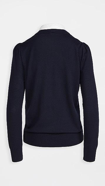 Adam Lippes 可拆卸蕾丝衣领圆领毛衣