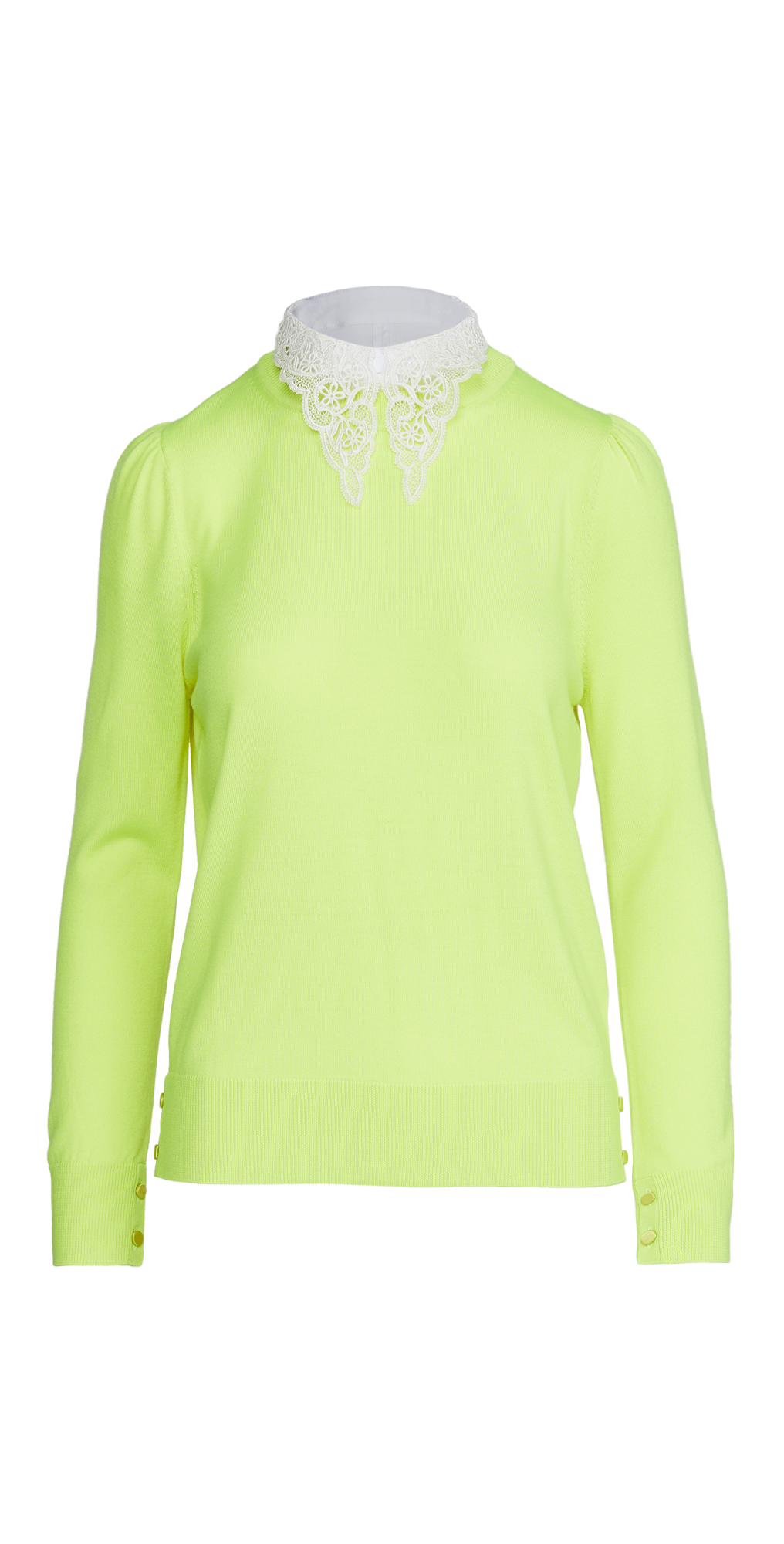 Adam Lippes Crew Neck Sweater with Detachable Lace Collar