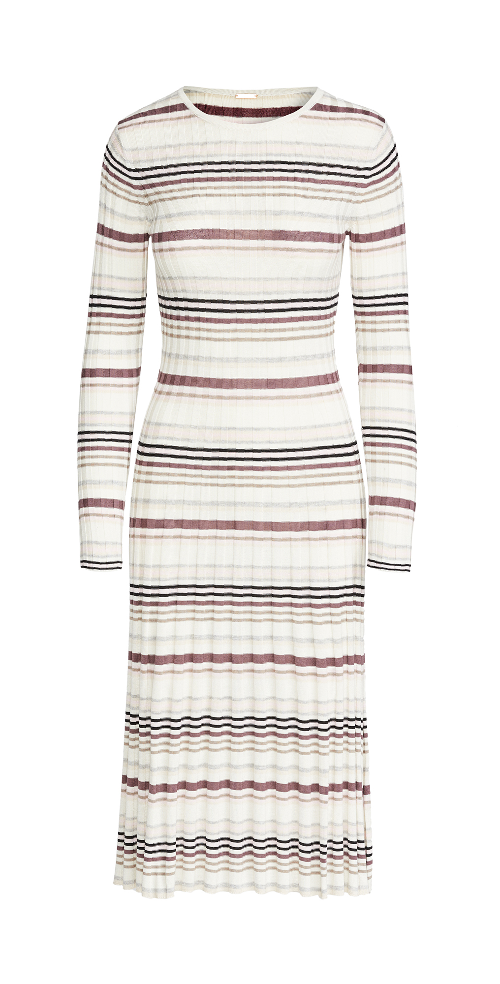 Adam Lippes Stripe Long Sleeve Fitted Dress