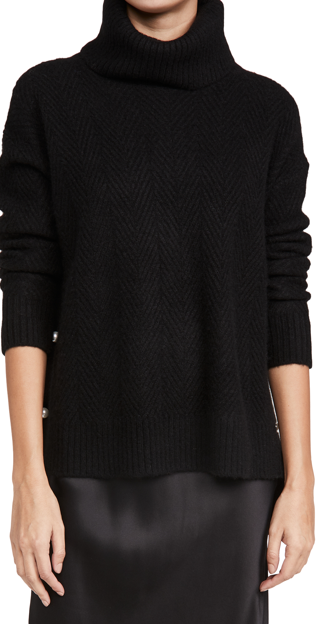 Adam Lippes Cashmere Herringbone Turtleneck