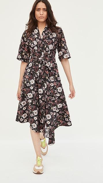 Adam Lippes Asymmetrical Dress In Printed Poplin