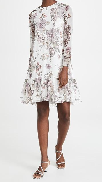 Adam Lippes Dress with Ruffle Hem In Printed Chiffon