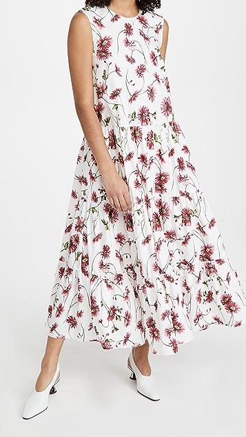 Adam Lippes Tiered Maxi Dress In Printed Poplin