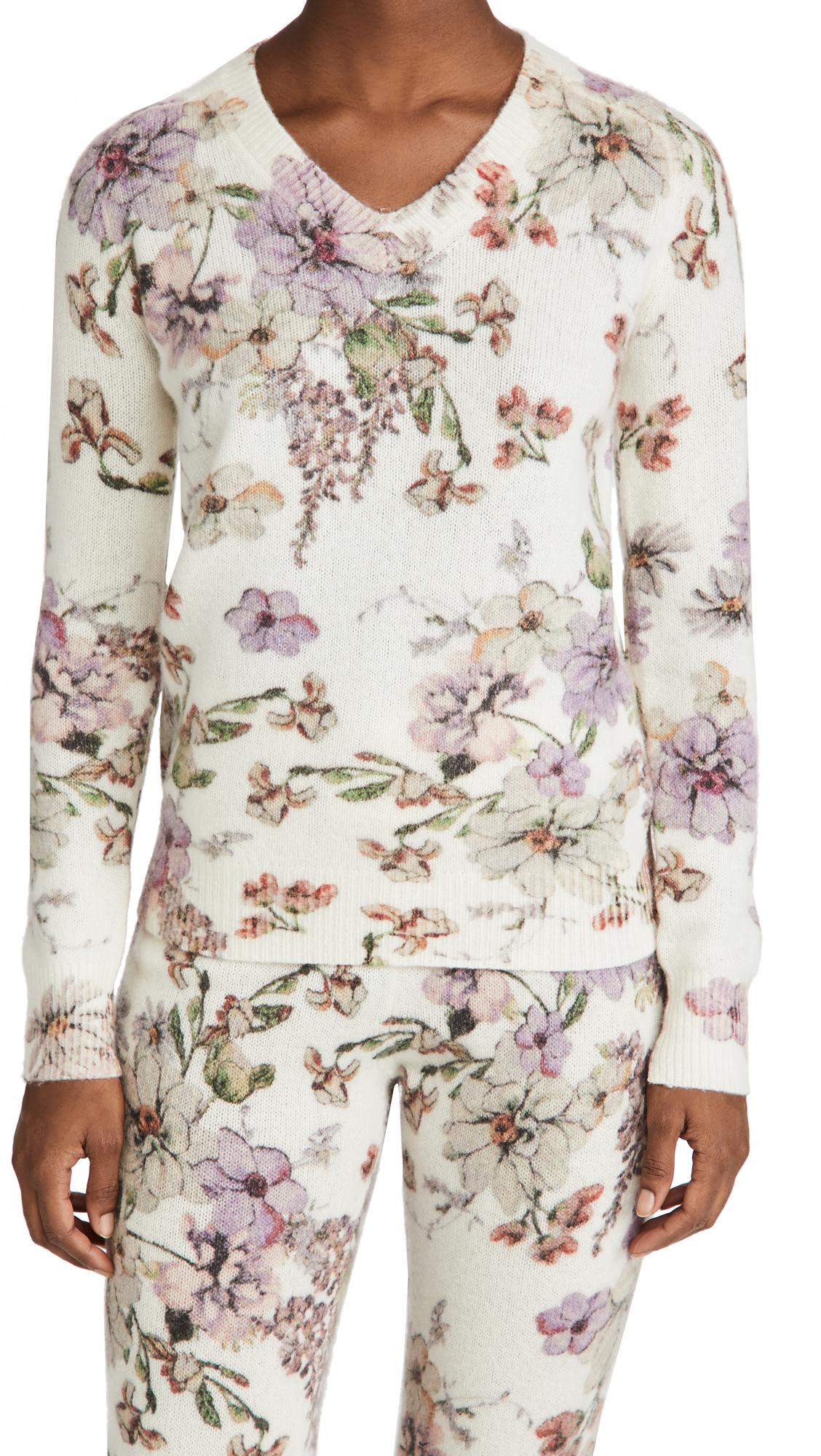 Adam Lippes V Neck Sweater In Printed Cashmere