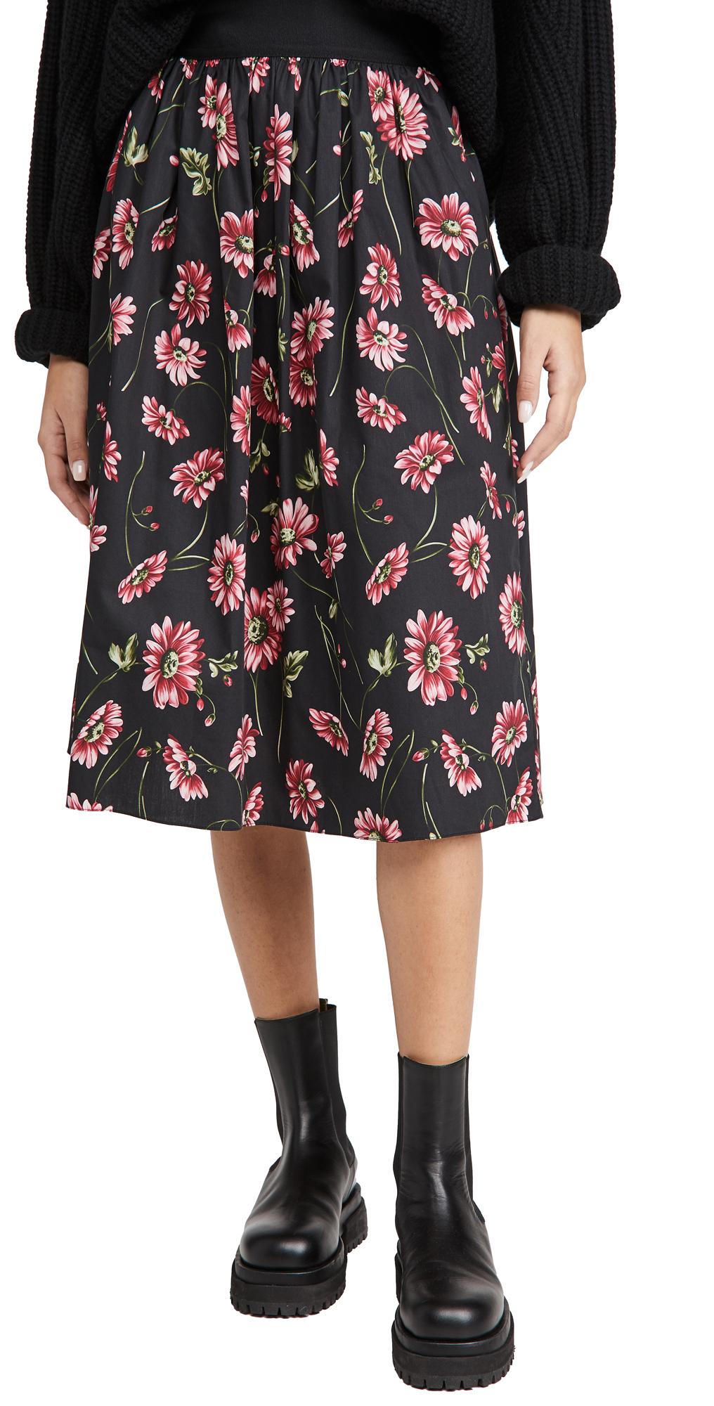Adam Lippes Midi Skirt with Elastic Waist In Printed Poplin