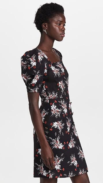 Adam Lippes Puff Sleeve Mini Dress in Printed Cotton Twill