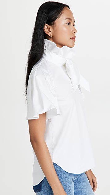 Adam Lippes Bow Neck Blouse In Cotton Shirting