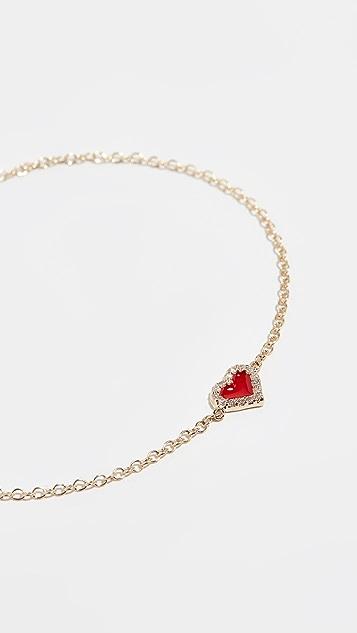 Alison Lou 14k Diamond Heart Bracelet