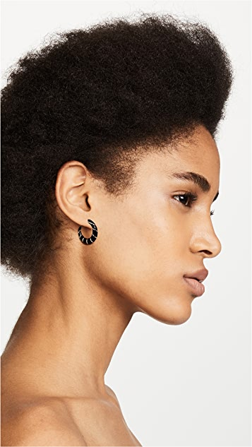 Alison Lou 14k 小巧条纹圈式耳环