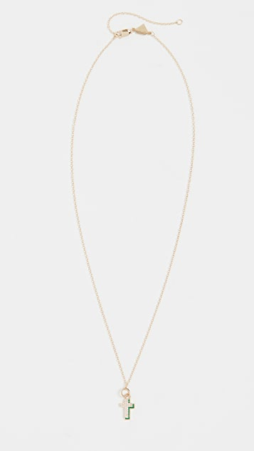 Alison Lou 钻石十字阴影项链
