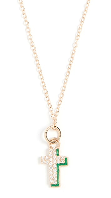 Alison Lou 14k 钻石十字阴影项链