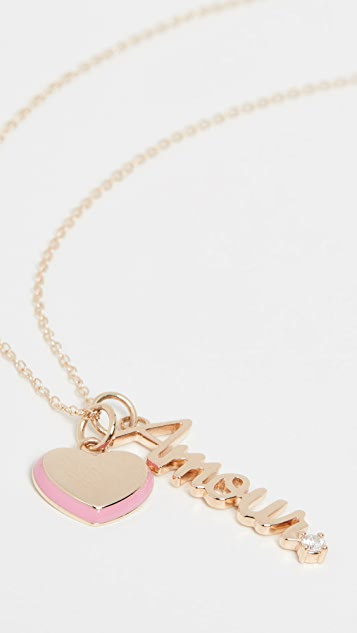 Alison Lou 14k Puffy Heart & Amour Charm Necklace