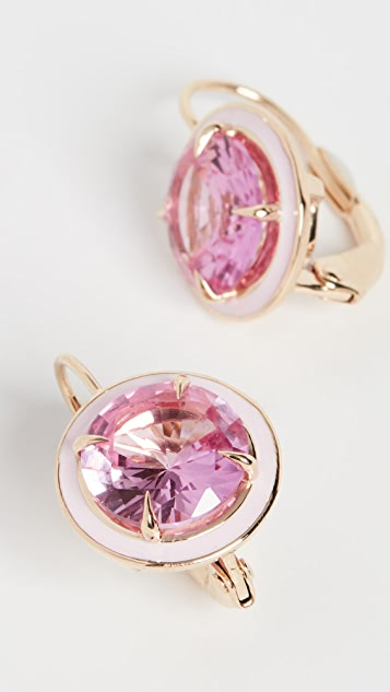 Alison Lou 14k Pink Sapphire Round Cocktail Earrings