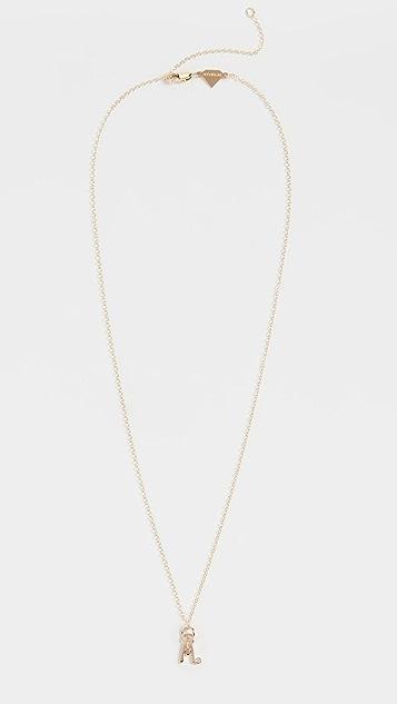 Alison Lou 14K 包镶钻石字母项链