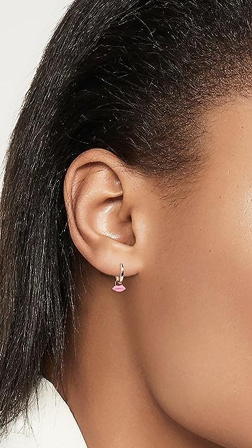 Alison Lou 迷你唇形贴耳圈式耳环