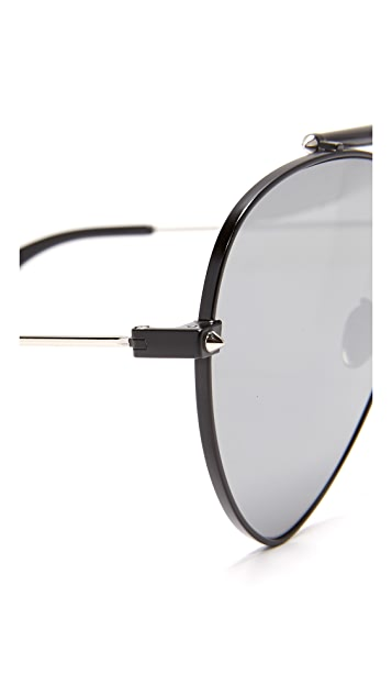 Alexander McQueen Flat Lens Teardrop Pilot Aviator Sunglasses