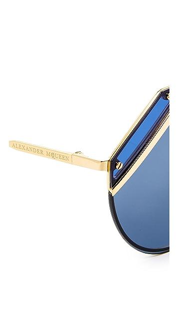 Alexander McQueen Couture Flat Lens Aviator Sunglasses