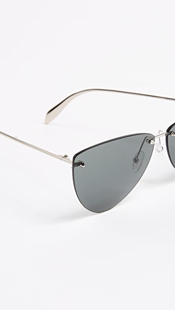 Alexander McQueen Pinched Shield Sunglasses