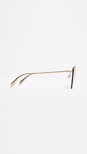 Alexander McQueen Pinched Shield Mirrored Sunglasses