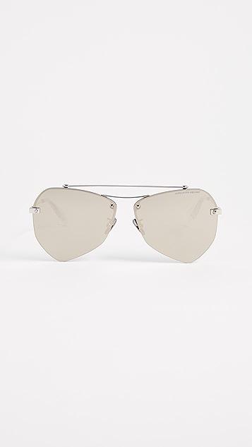 Alexander McQueen Pinched Aviator Sunglasses - Silver/Silver