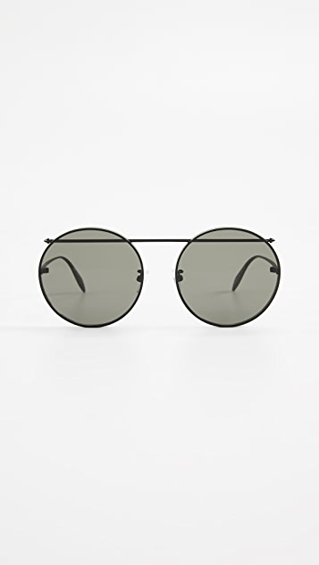 Alexander McQueen Piercing Round Sunglasses