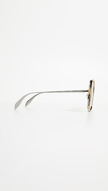 Alexander McQueen Sculpted Metal Square Sunglasses