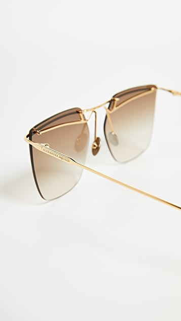 Alexander McQueen Sculpted Metal Rectangular Sunglasses