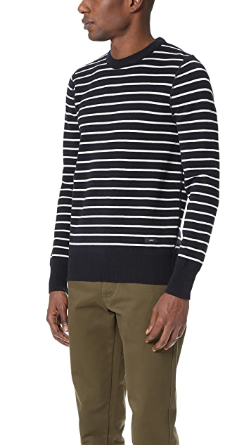 AMI Crew Neck Striped Sweater