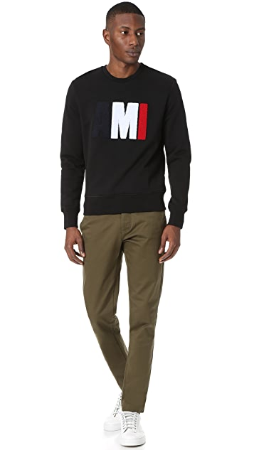AMI AMI Embroidered Crew Neck Sweatshirt